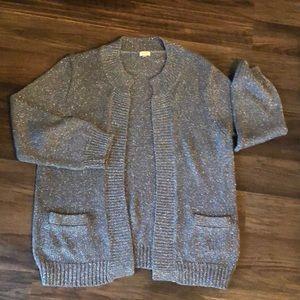 J. Crew L Silver Metallic Open Cardigan Sweater